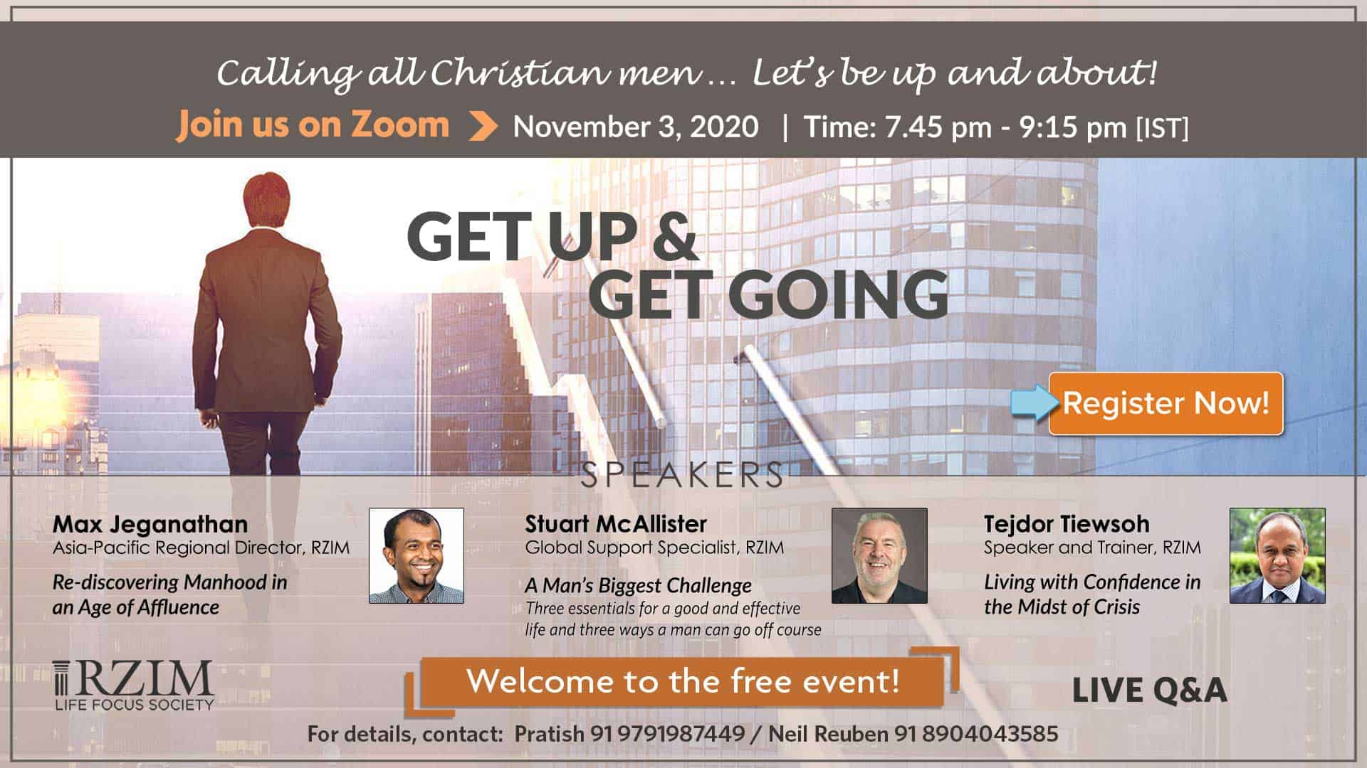 Get Up & Get Going - A Mens event RZIM